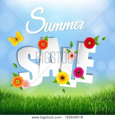 Nature Background With Grass  Border And Text Summer