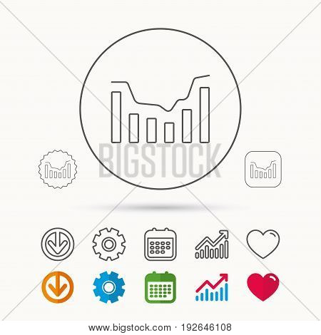 Dynamics icon. Statistic chart sign. Growth infochart symbol. Calendar, Graph chart and Cogwheel signs. Download and Heart love linear web icons. Vector