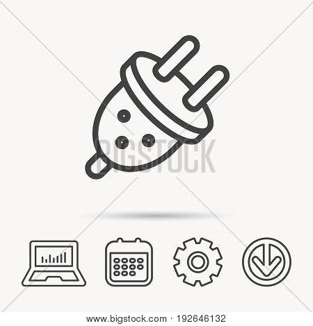 Electric plug icon. European socket sign. Notebook, Calendar and Cogwheel signs. Download arrow web icon. Vector