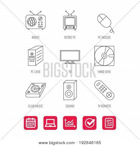 Sound, club music and retro radio icons. PC mouse and case, hard disk linear signs. TV remote icons. Report document, Graph chart and Calendar signs. Laptop and Check web icons. Vector
