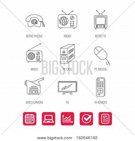 Radio, TV remote and video camera icons. Retro phone, PC case and mouse linear signs. Report document, Graph chart and Calendar signs. Laptop and Check web icons. Vector