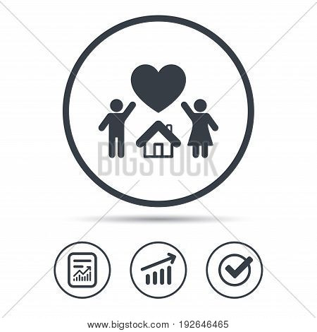 Family icon. Father, mother and child symbol. Report document, Graph chart and Check signs. Circle web buttons. Vector