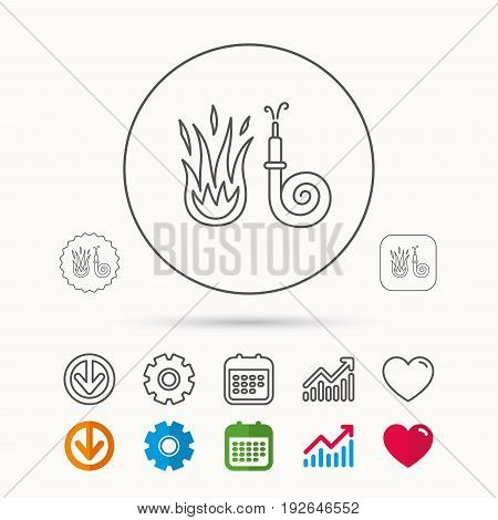 Fire hose reel icon. Fire station sign. Calendar, Graph chart and Cogwheel signs. Download and Heart love linear web icons. Vector