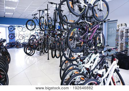 Shop with wide selection of modern bicycles
