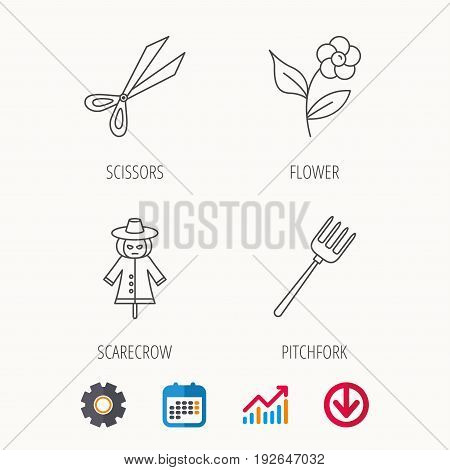 Scissors, flower and pitchfork icons. Scarecrow linear sign. Calendar, Graph chart and Cogwheel signs. Download colored web icon. Vector