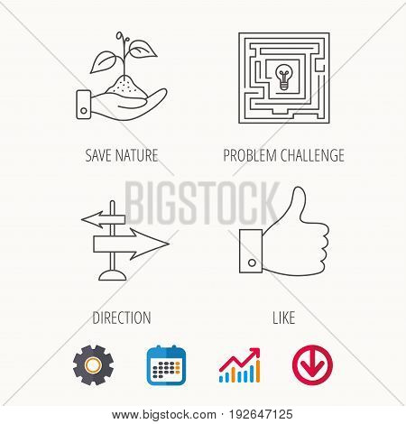 Save nature, thumb up and direction icons. Problem challenge, like linear signs. Calendar, Graph chart and Cogwheel signs. Download colored web icon. Vector
