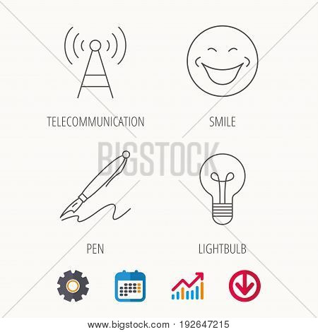 Pen, telecommunication and lightbulb icons. Smiling face linear sign. Calendar, Graph chart and Cogwheel signs. Download colored web icon. Vector