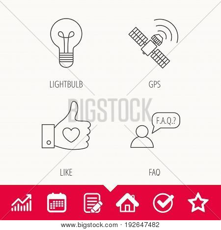 GPS, question and lightbulb icons. Thumb up, like linear sign.  Edit document, Calendar and Graph chart signs. Star, Check and House web icons. Vector