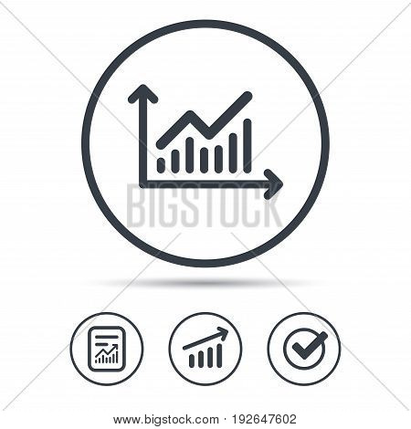 Graph icon. Business analytics chart symbol. Report document, Graph chart and Check signs. Circle web buttons. Vector