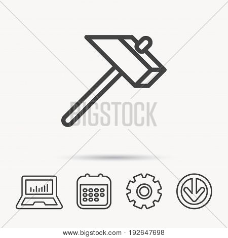 Hammer icon. Repair or fix sign. Construction equipment tool symbol. Notebook, Calendar and Cogwheel signs. Download arrow web icon. Vector