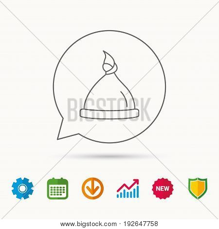 Baby hat icon. Newborn cap sign. Toddler sleeping clothes symbol. Calendar, Graph chart and Cogwheel signs. Download and Shield web icons. Vector