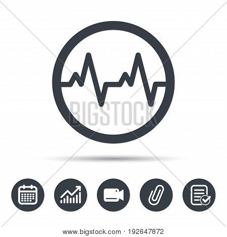 Heartbeat icon. Cardiology symbol. Medical pressure sign. Calendar, chart and checklist signs. Video camera and attach clip web icons. Vector