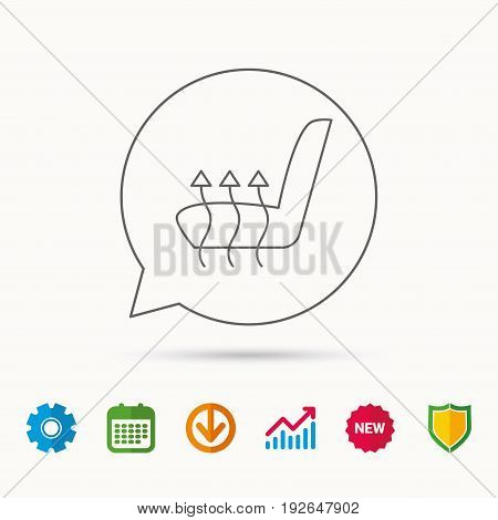 Heated seat icon. Warm autoarmchair sign. Calendar, Graph chart and Cogwheel signs. Download and Shield web icons. Vector