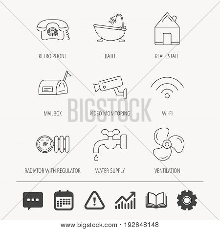 Wifi, video camera and mailbox icons. Real estate, bath and water supply linear signs. Radiator with heat regulator, phone icons. Education book, Graph chart and Chat signs. Vector