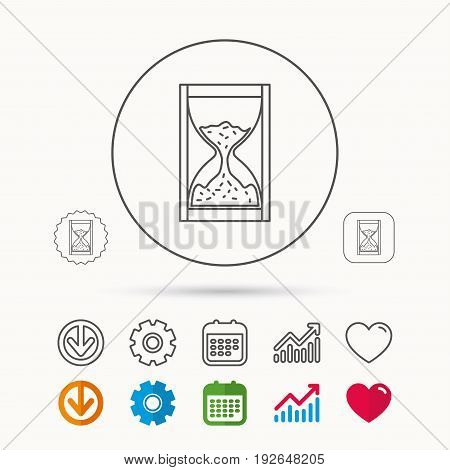 Hourglass icon. Sand time sign. Calendar, Graph chart and Cogwheel signs. Download and Heart love linear web icons. Vector