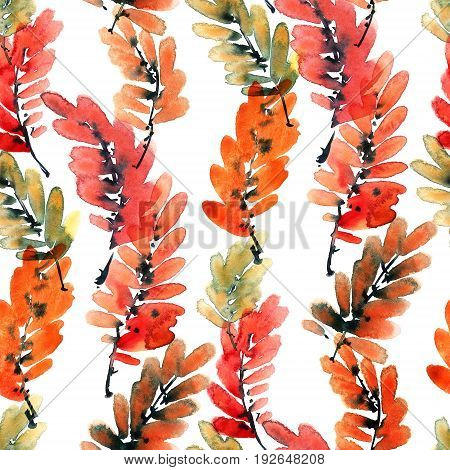Watercolor and ink illustration of tree leaves. Sumi-e u-sin painting. Seamless pattern.