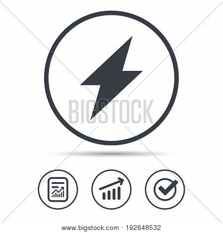 Lightning icon. Electricity energy power symbol. Report document, Graph chart and Check signs. Circle web buttons. Vector