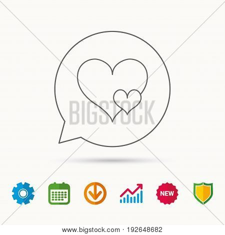 Love hearts icon. Lovers sign. Couple relationships. Calendar, Graph chart and Cogwheel signs. Download and Shield web icons. Vector