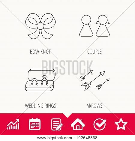 Arrows, couple and wedding rings icons. Bow-knot linear sign. Edit document, Calendar and Graph chart signs. Star, Check and House web icons. Vector