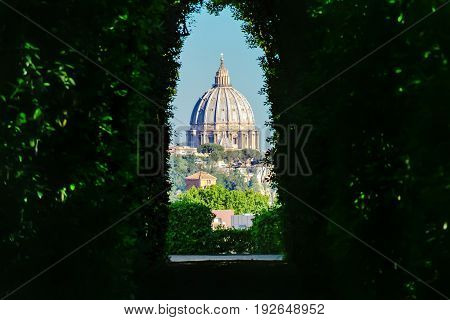 View Through The Keyhole. Aventine Hill. Rome, Italy