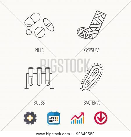Broken foot, bacteria and medical pills icons. Lab bulbs linear sign. Calendar, Graph chart and Cogwheel signs. Download colored web icon. Vector