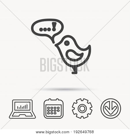 Bird with speech bubble icon. Chat talk sign. Cute small fowl symbol. Notebook, Calendar and Cogwheel signs. Download arrow web icon. Vector