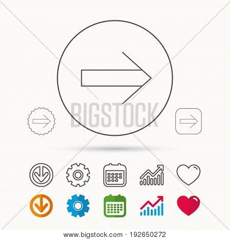 Next arrow icon. Forward sign. Right direction symbol. Calendar, Graph chart and Cogwheel signs. Download and Heart love linear web icons. Vector