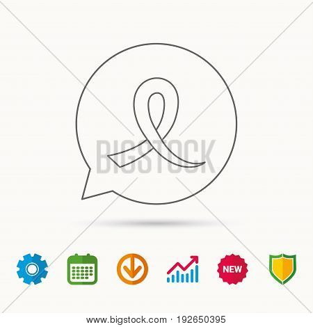 Awareness ribbon icon. Oncology sign. Calendar, Graph chart and Cogwheel signs. Download and Shield web icons. Vector