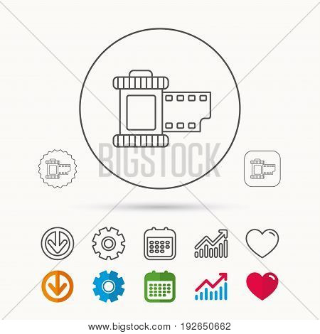 Retro photo icon. Camera roll sign. Calendar, Graph chart and Cogwheel signs. Download and Heart love linear web icons. Vector