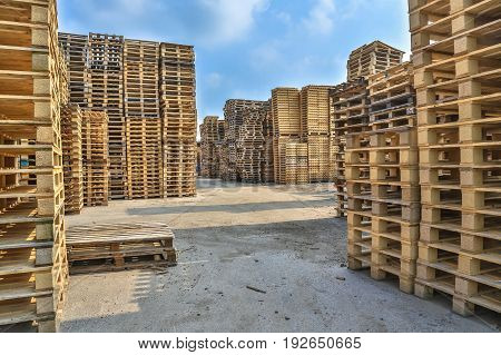 Piles Of Pallet On Business Area