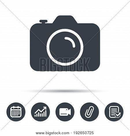 Camera icon. Professional photocamera symbol. Calendar, chart and checklist signs. Video camera and attach clip web icons. Vector