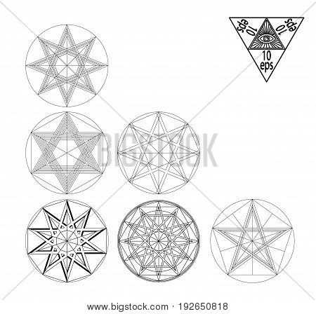 Impossible geometry symbols vector set on black background.Sacred geometry symbols and signes vector illustration. Hipster tattoo. Flower of life symbol. Metatrons Cube.