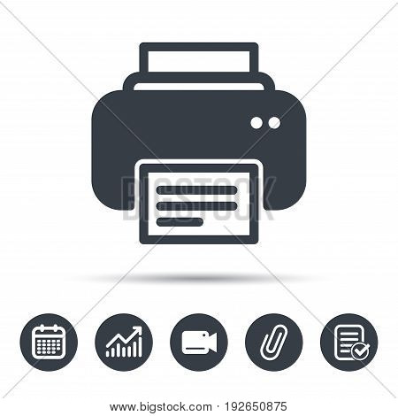 Printer icon. Print documents technology symbol. Calendar, chart and checklist signs. Video camera and attach clip web icons. Vector