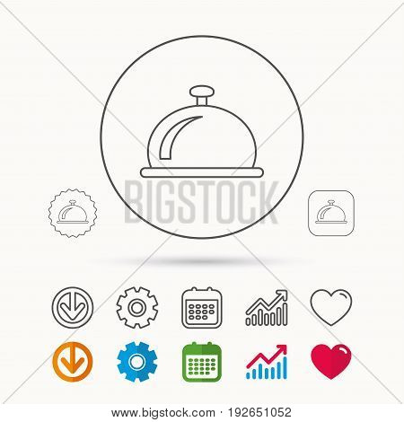 Reception bell icon. Hotel service sign. Calendar, Graph chart and Cogwheel signs. Download and Heart love linear web icons. Vector