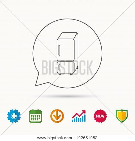 Refrigerator icon. Fridge sign. Calendar, Graph chart and Cogwheel signs. Download and Shield web icons. Vector
