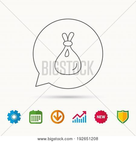Burlap sack icon. Textile bag sign symbol. Calendar, Graph chart and Cogwheel signs. Download and Shield web icons. Vector