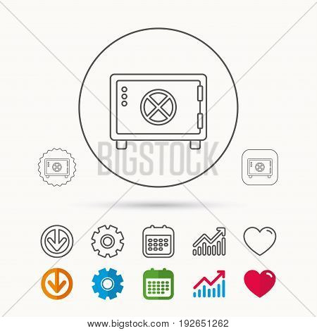 Safe icon. Money deposit sign. Circle handle symbol. Calendar, Graph chart and Cogwheel signs. Download and Heart love linear web icons. Vector