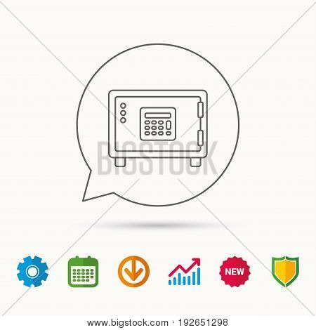 Safe icon. Money deposit sign. Combination lock symbol. Calendar, Graph chart and Cogwheel signs. Download and Shield web icons. Vector