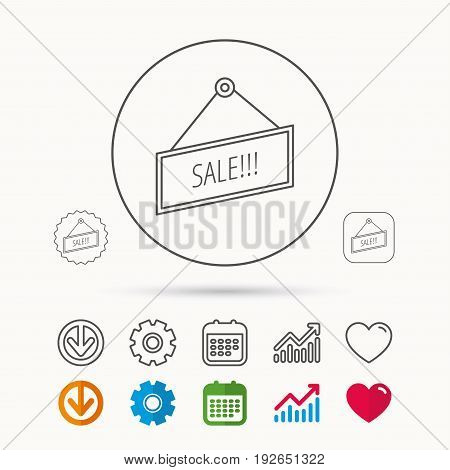 Sale icon. Advertising banner tag sign. Calendar, Graph chart and Cogwheel signs. Download and Heart love linear web icons. Vector