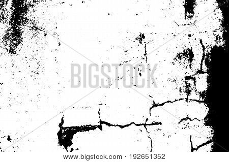 Cracked grit vector texture. Black grit on transparent background. Old concrete wall. Weathered asphalt surface. Monochrome vintage overlay. Aged scratched stone surface. Rough concrete texture trace