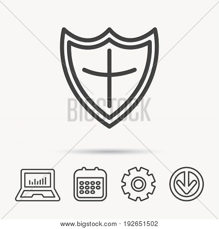 Shield icon. Protection sign. Royal defence symbol. Notebook, Calendar and Cogwheel signs. Download arrow web icon. Vector