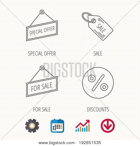 Special offer, discounts and sale coupon icons. For sale linear sign. Calendar, Graph chart and Cogwheel signs. Download colored web icon. Vector
