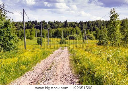 Dirt Road In The Fields, On A Hot June Day