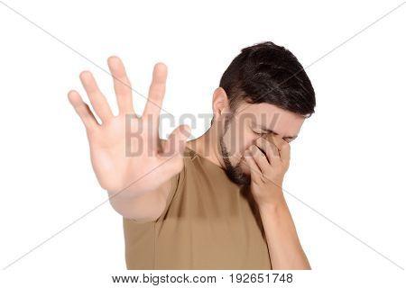 Sad Man Showing His Hand.