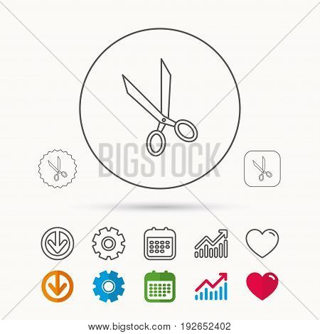 Tailor scissors icon. Hairdressing sign. Grooming symbol. Calendar, Graph chart and Cogwheel signs. Download and Heart love linear web icons. Vector