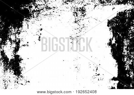 Noisy dirt vector texture. Black grit on transparent background. Old concrete wall. Weathered asphalt surface. Monochrome vintage overlay. Aged scratched stone surface. Rough concrete texture trace