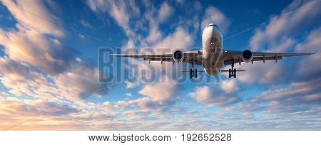 Landscape With White Passenger Airplane Is Flying