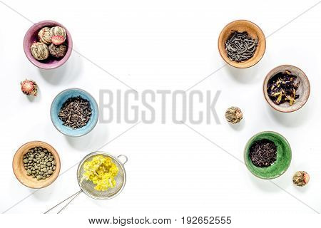 Drink herbal tea with brew on white table background top view space for text