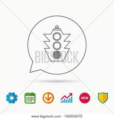 Traffic light icon. Safety direction regulate sign. Calendar, Graph chart and Cogwheel signs. Download and Shield web icons. Vector