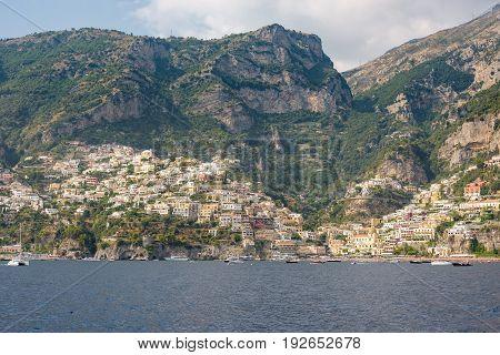 Positano on Amalfi Coast in afternoon sun seen from the sea Campania Italy